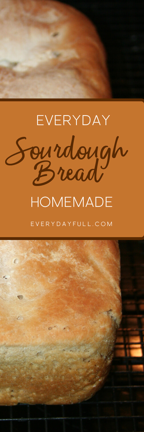 Loaf of homemade sourdough bread pinterest pin.
