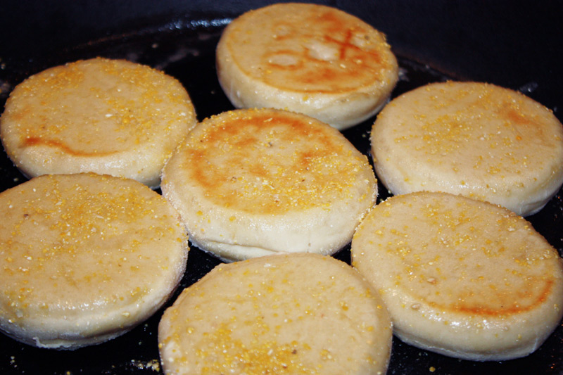 Sourdough English Muffins cooking