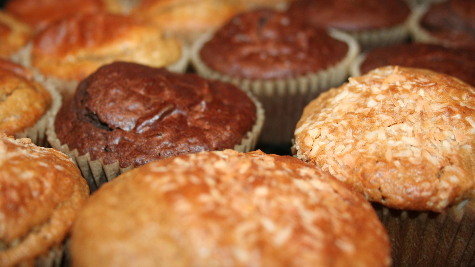 Homemade sourdough muffins in three different flavors.