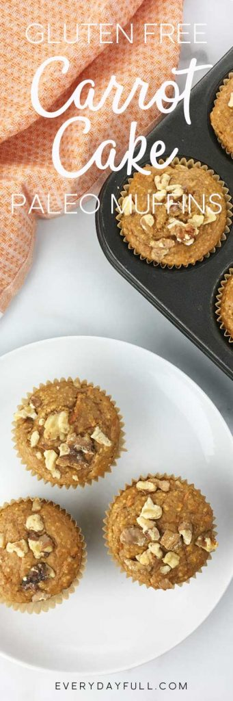 Gluten Free Paleo Carrot Cake Muffins on a plate and in the baking pan (Pinterest Pin)