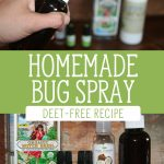 "Two images with ingredients for homemade bug spray. Text overlay says, ""Homemade Bug Spray: Deet-Free Recipe"""