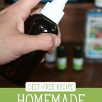 "Hand spraying a bottle of homemade bug repellent. Text overlay says, ""Homemade Bug Spray - Deet-Free Recipe""."