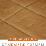 "Close up shot of homemade Graham crackers. Text overlay says, ""Homemade Graham Crackers Recipe: Whole Wheat Flour""."
