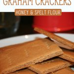 "A white plate with a stack of homemade graham crackers. Text overlay says, ""Homemade Graham Crackers: Honey & Spelt Flour""."
